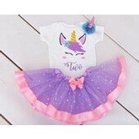 Unicorn Personalised 1st Birthday Tutu Outfit, Pink Purple Glitter Number Top, Headband, Purple dress Baby Girl, First, Cake Smash, - Seek Gifts