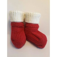 Baby UGG Style Booties Knitted baby boots socks Christmase Red perfect gift size 6 to 12 months (6  12 months) Festive colour Santa socks - Ugg Gifts
