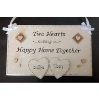 Personalised Couple New Happy Home Together Gift Plaque, Engagement, Couple, New House, Life Together, Two Hearts, Love, Custom Sign - Custom Gifts