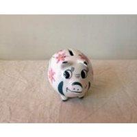 Vintage Ceramic Piggy Bank  Retro Pottery Piggy Bank  Pig Figurine  Kitsch Pig Collectible  Wemyss Style Piggy Bank  Pig Money Box - Money Gifts