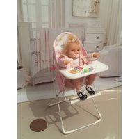 RESERVED FOR dirkwoerheidi please do not buy  Dolls house ooak baby/toddler girl with handmade modern highchair  bouncy chair for 18 gbp - Bouncy Gifts
