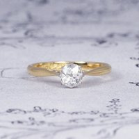 Antique Old Mine Cut Diamond Solitaire Engagement Ring, 0.55 Carat Vintage Cushion Shape Diamond in 18ct Yellow Gold and Platinum - Engagement Ring Gifts