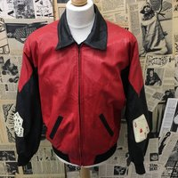 Vintage 1980s Leather Jacket Bomber by Northern Lights Red Black Roulette Size Small CHEAP UK Postage  Cheap - Roulette Gifts