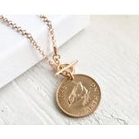 70th Birthday Gift for Women 1948 Jenny Wren Farthing Necklace Rose Gold Necklace For Her 70th Present Mother Sister Grandma - 70th Birthday Gifts