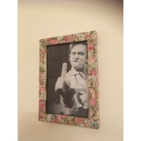 Johnny Cash black and white print in a floral frame 6x4 - Johnny Cash Gifts