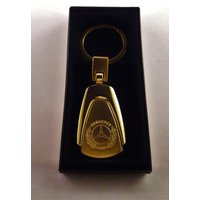 Mercedes Benz Key Fob, 24K Gold plated keychain/keyring W/GIFT BOX for mercedes lovers, owners, drivers, enthusiasts, racers. mercedes logo - Mercedes Gifts