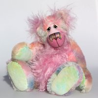 Mildred, a sweet, cuddly and delicately coloured, one of a kind, artist teddy bear in luscious fluffy hand dyed mohair by BarbaraAnn Bears - Artist Gifts