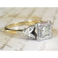 c.1930 Art Deco Platinum Square Set 0.27 Carat Diamond Solitaire Engagement Ring 18 Carat Gold - Engagement Ring Gifts