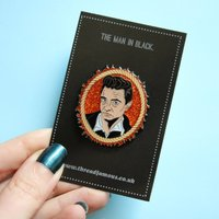 Johnny Cash enamel pin. The man in black. Country music lapel pin badge. Cult musician. Ring of fire. Glitter pin brooch. Music gift. - Johnny Cash Gifts