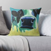 Turquoise  Cow  Animal Lover  Cushion  Throw Cushion  Pillow  Throw Pillow  Cotton Canvas  Kirstin Wood Artist  Original Art - Artist Gifts