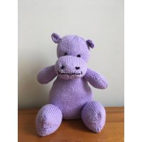 Hand knitted hippo stuffed baby cuddly toy - Hippo Gifts