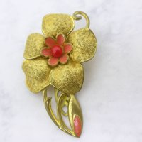 Vintage Czech Pink Red Glass Enamel Dress Clip  Ornate Gilt Metal - Seek Gifts