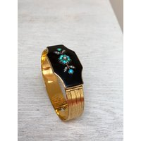 Antique Victorian rolled gold, seed pearl, turquoise and jet mourning bracelet, Sentimental, Love Token, Jewellery, Jewelry, Memento Mori - Sentimental Gifts