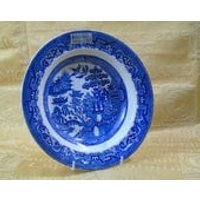 Bell Pottery Glasgow, Blue and White Plate c1850 featuring an oriental scene - Oriental Gifts