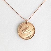 70th Birthday Gift for Women  1947 Jenny Wren Farthing Necklace  Rose Gold Necklace, For Her, 70th Present, Mother, Sister lucky coin - 70th Birthday Gifts