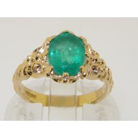 Stunning 14K or 18K Yellow Gold Natural Emerald Ornate Solitaire Carved Ring, Engagement Ring, May birthstone  Customizable - Engagement Ring Gifts