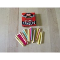 1930s/40s Emu Series box of 24 assorted colour cake candles - Seek Gifts