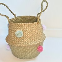 POMPOM BASKET medium WATERMELON pom pom belly rattan basket wool natural seagrass pink sage green grey and lilac - Lilac Gifts