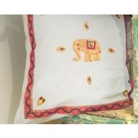 Ethnic Indian Elephant Cushion/Pillow Cover  Grey Felt, Gold Heart and Paisley Embroidered Motifs, Pink and Purple Ribbon  Home Decor - Indian Gifts