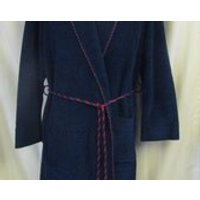 St Michael MS Vintage Robe Medium 40 42 Moyen Dark Blue Red Rope Waist Tie Pockets Dressing Gown 89% Tricetate Smoking Jacket Velvet Feel - Smoking Gifts