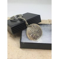1928 90th birthday two shilling coin keyring pre decimal  Florin - 90th Birthday Gifts
