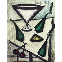 BERNARD BUFFET  Fruit dish  vintage lithograph  c1968 (important 20th Century French artist) - Artist Gifts