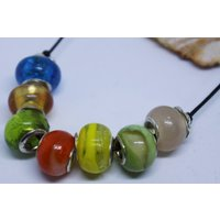 Multicoloured Murano glass Pandora style beads on leather cord necklace, beaded necklace - Pandora Gifts