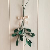 Mistletoe Christmas decoration a double sprig of handmade silk velvet leaves tied with a white festive bow - Mistletoe Gifts