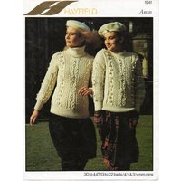 womens aran sweater knitting pattern pdf ladies cable jumper polo or crew neck 3044 aran worsted 10ply pdf instant download - Polo Gifts