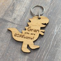 Granny You Are ROARsome  Cute Dinosaur TRex Wooden Keyring For Gran Nan Nanny - Keyring Gifts