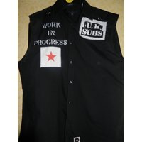 UK Subs  work in progress sleeveless punk shirt  1977 new wave  sex pistols clash damned - Sex Pistols Gifts