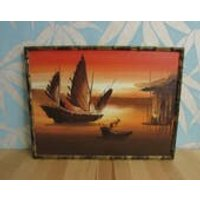 Kitsch vintage gilt bamboo framed oil painting of a junk boat at sunset, signed by artist - Artist Gifts