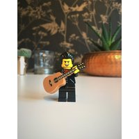 Johnny Cash Rock n Roll custom LEGO figure Johnny Cash keychain/keyring (giftbox option available) Country music lover The man in black - Johnny Cash Gifts