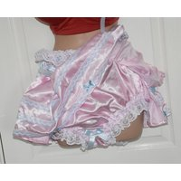 Sissy boi silky soft satin panties, baby pink and baby blue and fully sissy skirted, crossdressers delight, Sissy Lingerie - Lingerie Gifts
