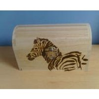 Zebra Treasure Chest pyrography hand designed wooden storage jewellery gift box. Can be personalised to order on request. - Zebra Gifts