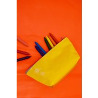 Made in UK Wyatt and Jack Upcycled Green  Yellow Bouncy Castle PVC Make Up  Cosmetic  Wash Kit Bag Pouch - Bouncy Gifts