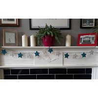 Blue star bunting  with grey  crochet  garland  nursery decor  baby boy gift  baby shower  house warming  mantle garland  fireplace - Warming Gifts