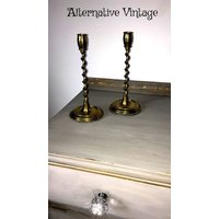 Beautiful  vintage brass candlesticks with a floral decorative etched design - Floral Gifts