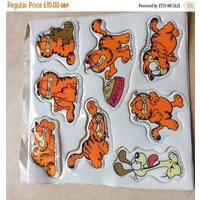 20% OFF SALE 1980s Garfield large stickers, still on backing - Garfield Gifts