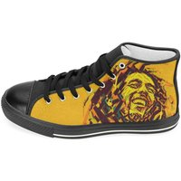 Bob Marley Shoes / Rasta / high top sneakers / Black / Rasta shoes / personalised trainers - Bob Marley Gifts