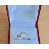 A 925 Silver Asscher Cut Central Stone with Baguettes Stones on either Side  Rings / Engagement / Birthday / Gift Box - Seek Gifts