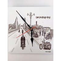Quality Aluminium Metal Clock 190mm Square 0.5mm thickness,Quartz Mechanism. Chelsea Bridge Boys back in the day by artist Bernie Wighton. - Artist Gifts