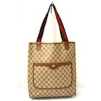 FREE Ship Gucci Vintage Tote Bag Handbag Shopper Shoulder Bag Double GG Brown Coated Canvas Leather Green Red Web Handles Italian Classic - Shoulder Bag Gifts