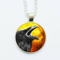 Black Crow Raven Pendant Necklace Earrings Ring Pin Badge Spooky Halloween Dark Fantasy Goth Gothic Occult Spirit Animal Jewelry - Halloween Gifts