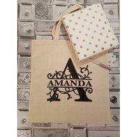 Monogram cotton tote bag, personalised, initial shoulder bag - Shoulder Bag Gifts