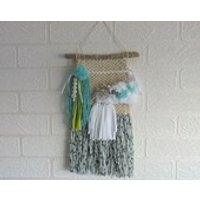 Woven Wall Hanging Weave Weaving Cream Grey White Turquoise Lime Nursery Room Decor - Nursery Gifts
