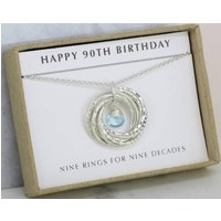 90th birthday gift for mother, December birthstone gift for grandma, blue topaz jewelry for 90th  Lilia - 90th Birthday Gifts