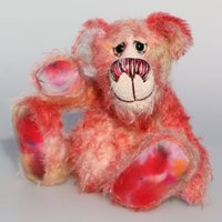 Nuggins is a joyous celebration of Yuletide happiness, a one of a kind, hand dyed mohair artist bear by BarbaraAnn Bears - Artist Gifts
