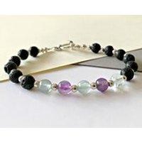 Fluorite and Lava Stone Diffuser Beaded Bracelet, Aromatherapy Bracelet, Chakra Bracelet, Mala Bracelet, Yoga Bracelet, Essential Oils - Aromatherapy Gifts