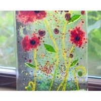 Red Poppy Fused Glass Panel with Wooden Stand  Poppies, red, flowers, christmas, birthday, gardener, gifts, floral, mum, nan, memorial - Gardening Gifts